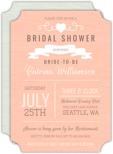 Country Style Coral Bridal Shower Invitation