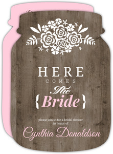 Woodgrain Here Comes the Bride Bridal Shower Invitation