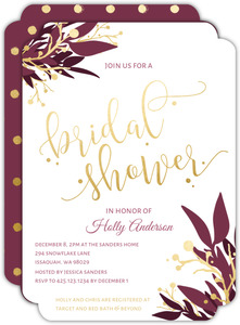 Burgundy and Faux Gold Foliage Bridal Shower Invitation