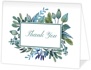 Whimsical Watercolor Greenery Thank You Card
