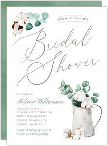 Delicate Cotton Plant Bridal Shower Invitation