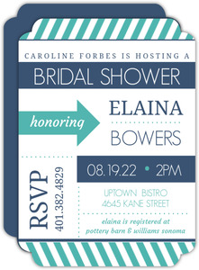Stiped Modern Teal and Navy Bridal Shower Invitation