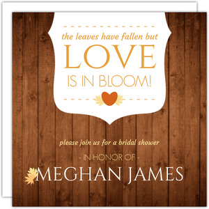 Fall Leaves Woodgrain Bridal Shower Invitation