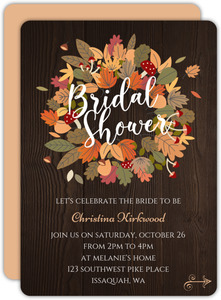 Fallen Leaves Wreath Bridal Shower Invitation