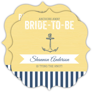 Nautical Anchor Blue and Yellow Bridal Shower Invitation