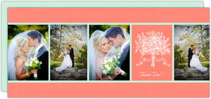 Floral Mint and Teal Wedding Thank You Cards
