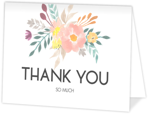 Modern Watercolor Flowers Wedding Thank You Card