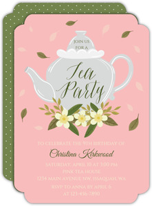 Flowerl & Leaves Tea Party Invitation