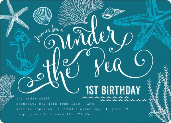turquoise ocean first birthday invitation first birthday invitations