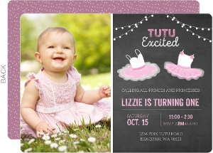 TuTu Ballerina Photo First Birthday Invitation