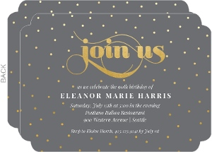 Gray and Faux Gold Dots Birthday Invitation