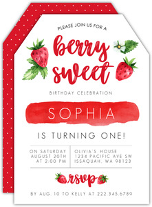 Red Strawberries First Birthday Invitation
