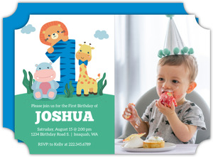 Baby Animals Blue First Birthday Invitation