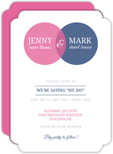 Blue and Pink Venn Diagram Wedding Invitation