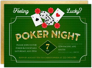 Faux Gold Feeling Lucky Poker Night Invitation