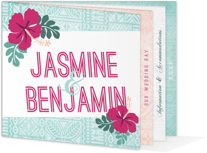 Hawaiian Floral Wedding Booklet Invitation
