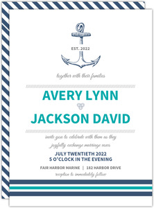Teal Navy Nautical Anchor Wedding Invitation