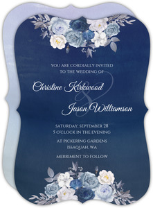 Navy Flower Arrangement Wedding Invitation