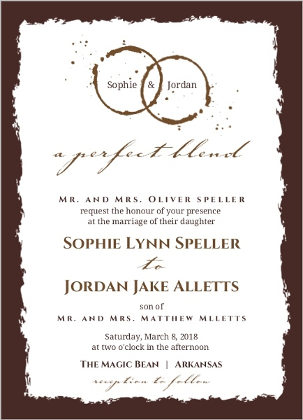 Coffee Stain A Perfect Blend Wedding Invitation