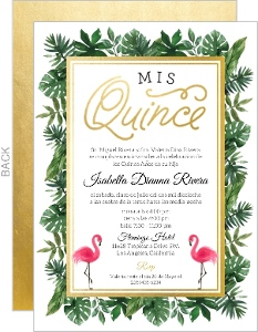 Tropical Faux Gold Foil Quinceanera Invitation
