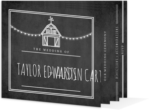 Rustic Barn Chalkboard Wedding Booklet Invitation