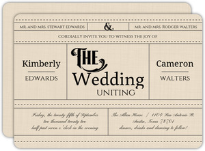 Cream Linen Western Style Wedding Invitation