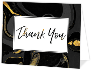 Black & Faux Gold Marble Thank You Card