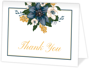 Modern Blue Floral Thank You Card