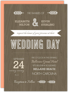 Brown Woodgrain Rustic Wedding Invitation