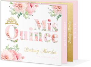 Delicate Pink Flowers Quinceanera Booklet Invitation