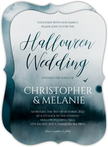 Dark Forest Watercolor Halloween Wedding Invitation