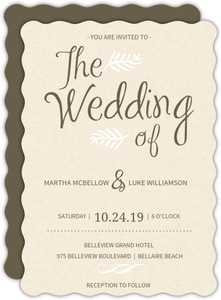 Simple Brown and Cream Paper Wedding Invitation