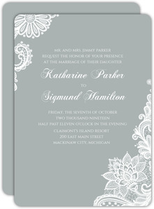 Elegant Gray White Lace Wedding Invitation