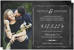 Typographic Chalkboard Photo Wedding Invitation