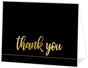 Modern Black & Faux Gold Thank You Card