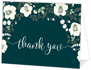 Charming Blue And Ivory Floral Thank You Card