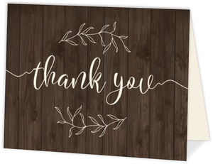 Textured Wood Botanical Thank You Card