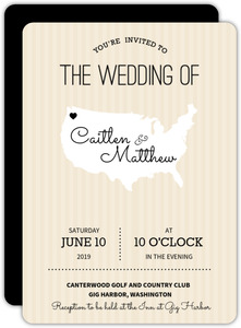 United States Cream Stipes Wedding Invitation