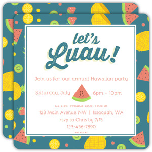 Fruit Salad Pattern Luau Party Invitation