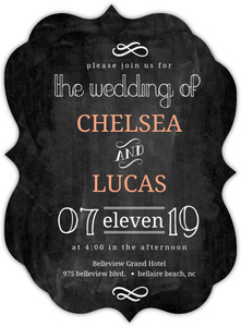 Chalkboard White and Peach Accents Wedding Invitation