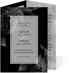 Dark Leaves Modern Trifold Wedding Invitation