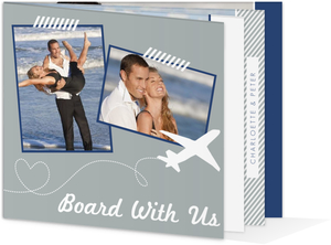 Modern Destination Plane Wedding Booklet Invitation