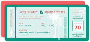 Mint Boarding Pass Wedding Invitation