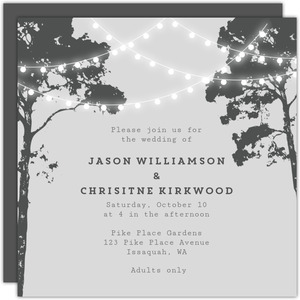 Tree Hanging Lights Wedding Invitation