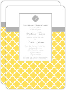 Gray and Yellow Morrocan Pattern Wedding Invitation