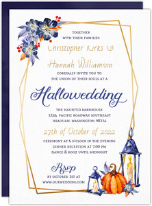 Watercolor Lantern Halloween Wedding Invitation