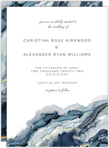 Modern Marble Ink Wedding Invitation