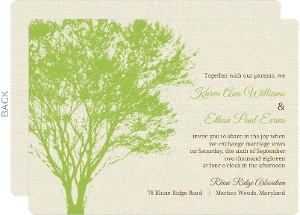 Green and Cream Tree Silhouette Wedding Invitation
