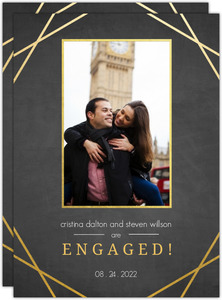 Sophisticated Faux Gold Frame Engagement Announcement