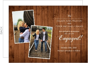 Rustic Wood Grain Photo Engagement Announcement